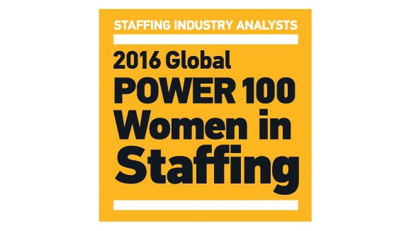 global 100 women in staffing logo yellow box image with black writing
