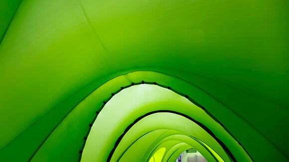 green curved abstract tunnel